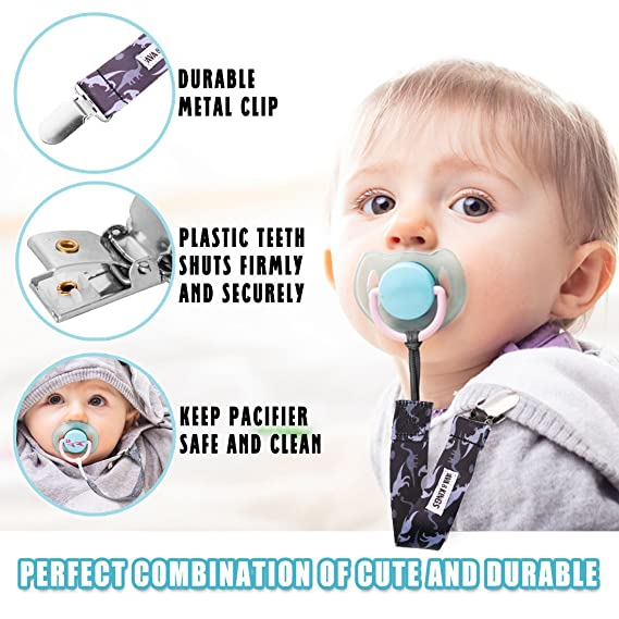 Set 1 Ava & Kings 4 pc Mixed Design Baby Boy Toddler Accessories Pacifier Clip Holders Bold in Blue