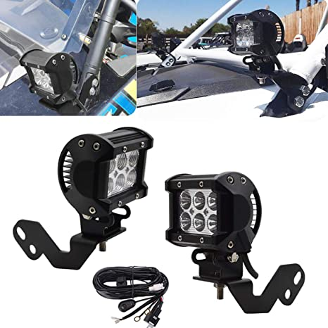 2pcs 4 Inch 18W LED Work Light Pods & Front A-Pillar Roll Bar Mounting Honda Wiring on
