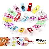 ilauke 60 Stoffklammern Wonder Clips mehrfarbig Nähen Zubehöre Kunststoff Patchwork Buckle Multi-Use Nähmaschinenhelfer Kurzwaren (60 Mischung)