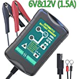 LST 6V&12V 1.5Amp Car Battery Charger Maintainer Auto Trickle Charging for Automotive Vehicle Motorcycle Lawn Mower Marine RV SLA ATV AGM Gel Cell Lead Acid Batteries