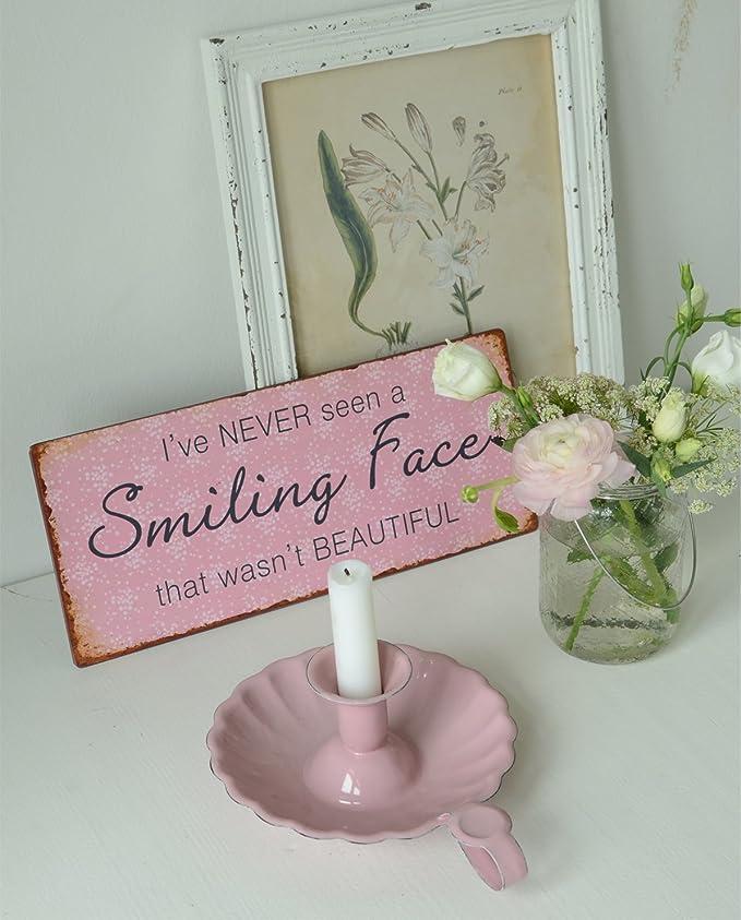 I´VE NEVER SEEN A SMILING FACE THAT WASN´T BEAUTIFUL Ib Laursen Metallschild
