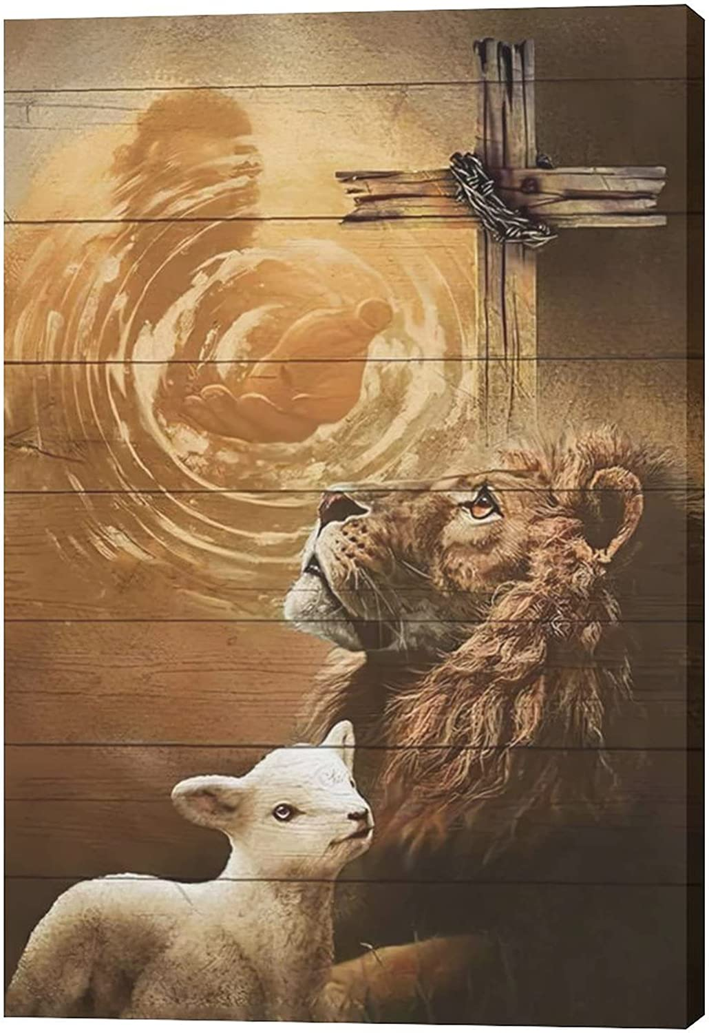 Jesus Lion And Lamb Canvas Wall Art Decor Gifts For Christian Lion Of Judah Religious Canvas Painting for Wall Easter Prints God Artwork Poster Framed Home Wall Decor for Church Living room Bedroom