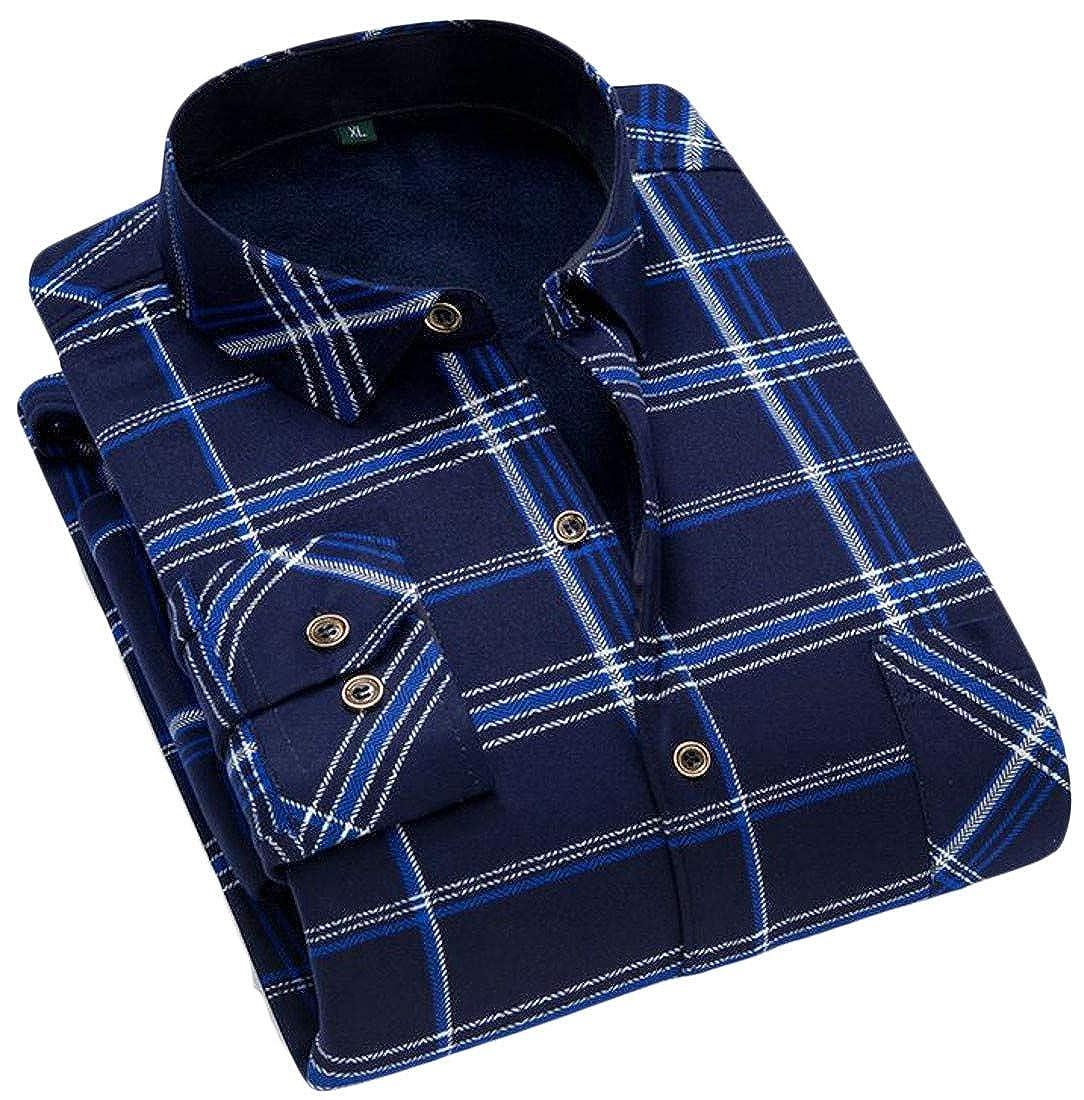 Macondoo Men Button Front Checkered Fleece Long Sleeve Winter Printed Shirts