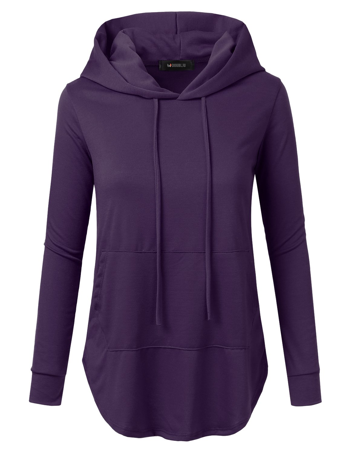Doublju Loose Fit Pullover Hoodie with Kangaroo Pocket for Womens with Plus Size (Made in USA) Eggplant 2XL
