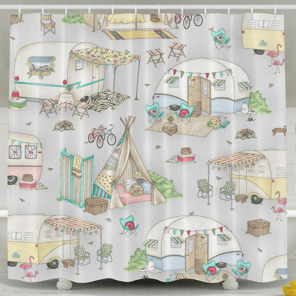 Amazon YDYZH Unisex Vintage Camper Shower Curtain Comfortable And Natural Bathroom CurtainWaterproof Anti Bacterial Machine WashableWith Plastic