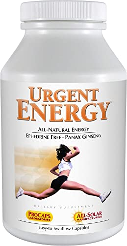 Andrew Lessman Urgent Energy 60 Capsules Provides a Safe, Healthy Means of Enhancing Energy Levels Feelings of Well-Being, with Green Tea, Guarana, Ginseng, Royal Jelly, Ashwagandha, B-Complex