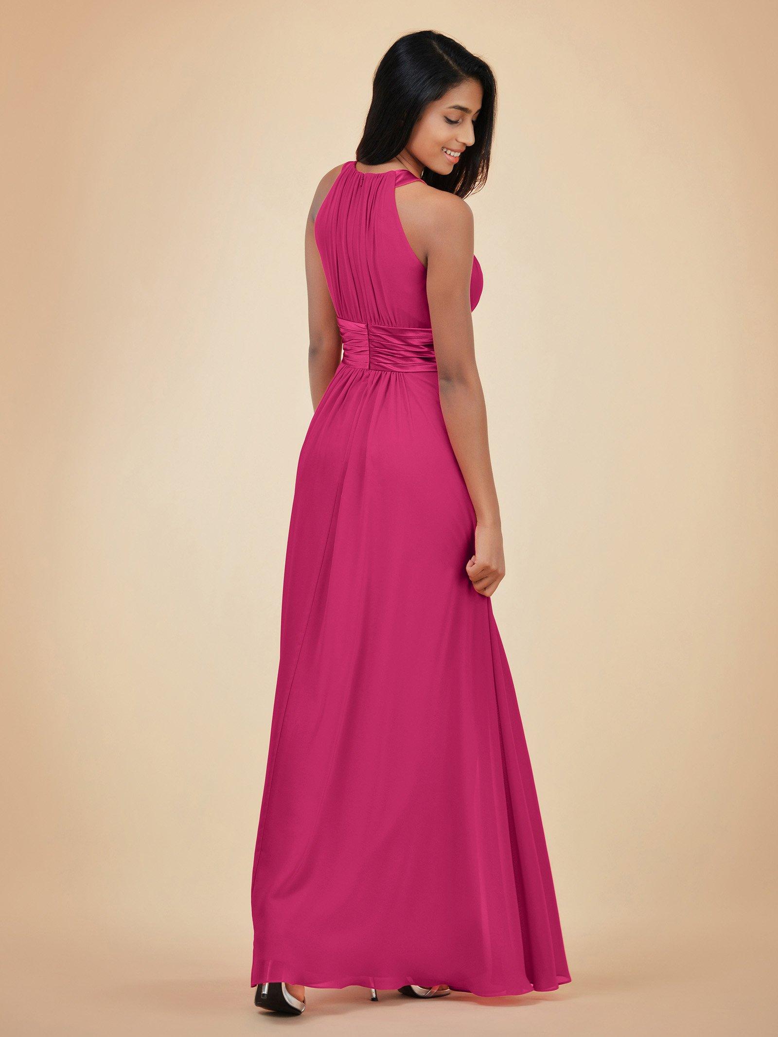 a27fdae07de ... Bridesmaid Dresses Long for Women Formal Elegant Halter Evening Dresses  for Weddings Empire Maxi Party Prom Gown
