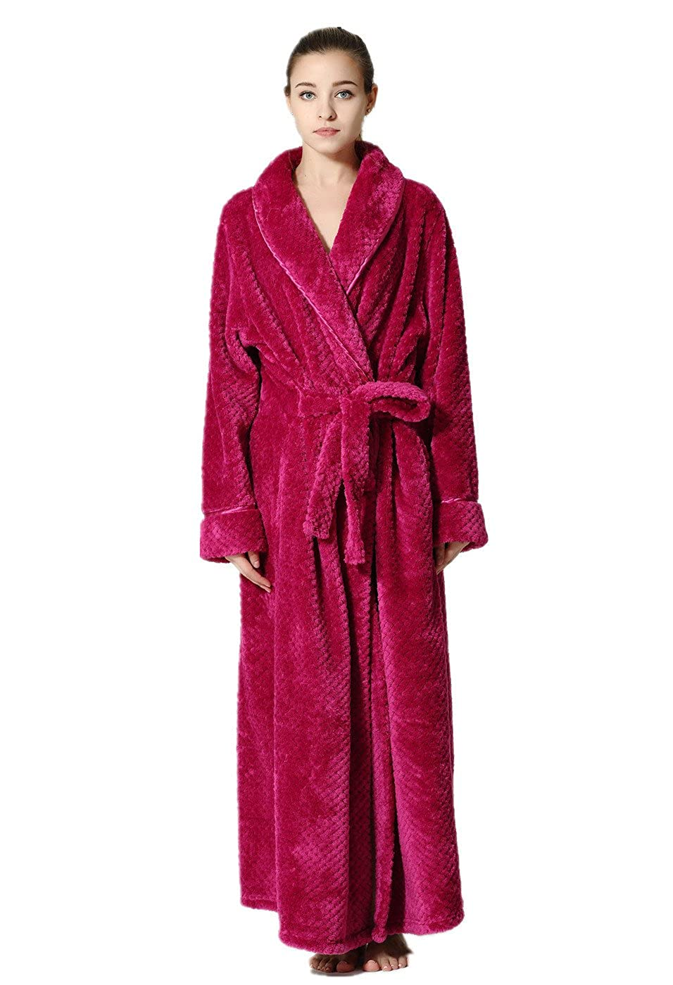 0df2ca182b VERNASSA Women s Long Robe Bathrobes Soft Kimono Spa Robe Sleepwear Fleece  Robe at Amazon Women s Clothing store