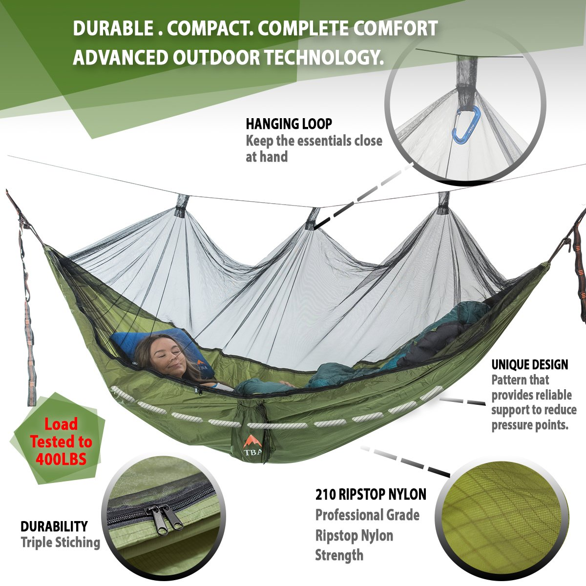 Camping & Hiking Humble High Strength Parachute Nylon Fabric Camping Single Parachute Hammock With Strong Rope For Camping Hiking Travel Sleeping Bags