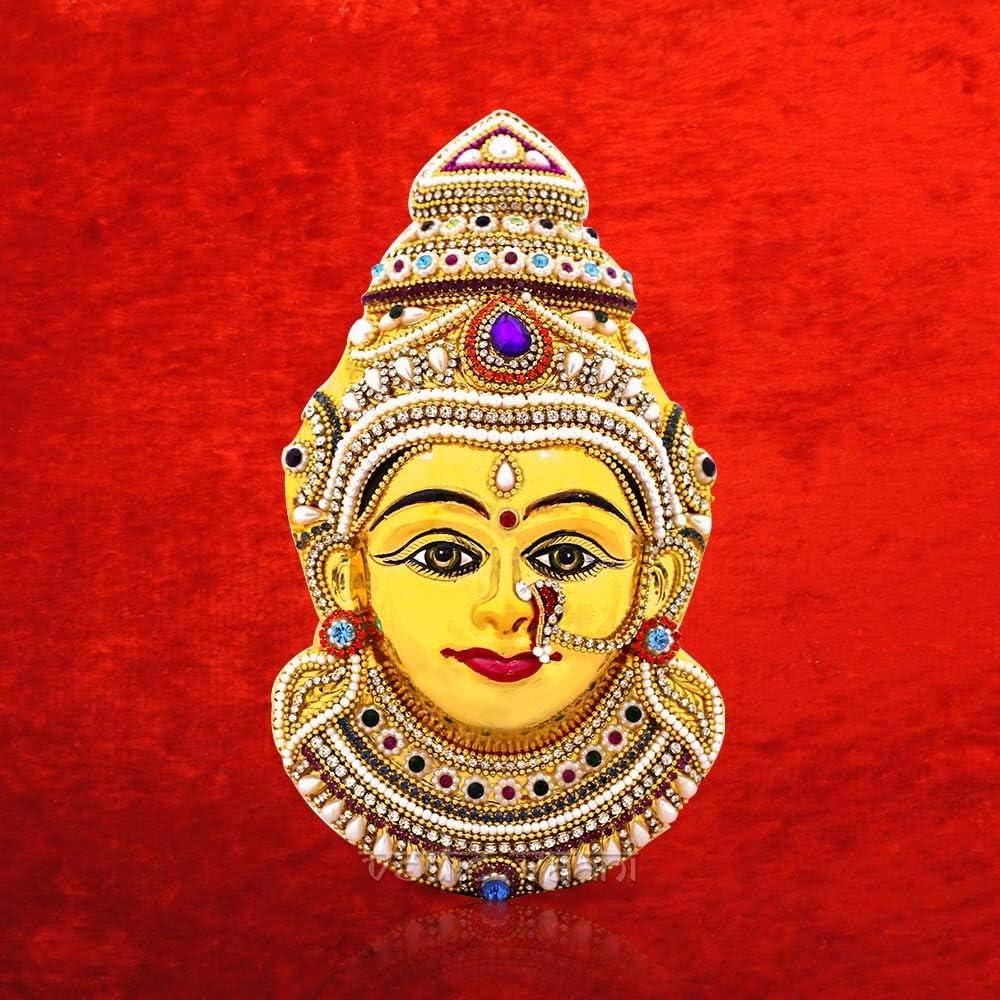 Vedic Vaani Goddess Lakshmi Varalakshmi Vratham Ammavari Pooja Metal Brass Amman Devi Laxmi Face for Kalasam On Coconut & House/Office to Bring Wealth & Prosperity