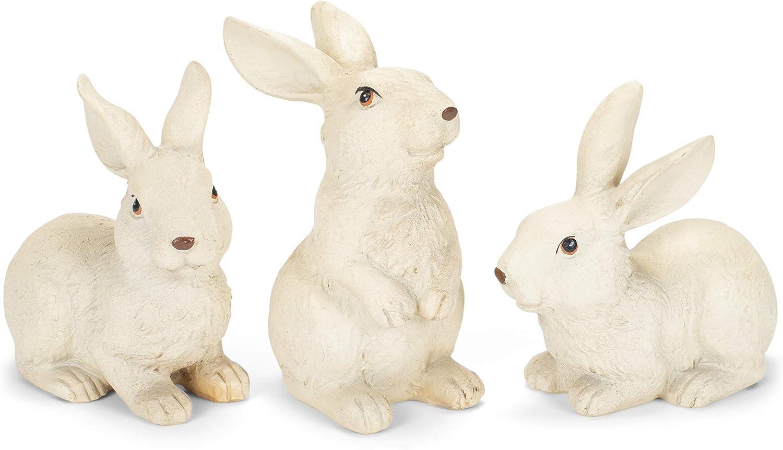 Creamy White Rabbit 4.25 x 4 Stone Decorative Tabletop Figurine Set of 3