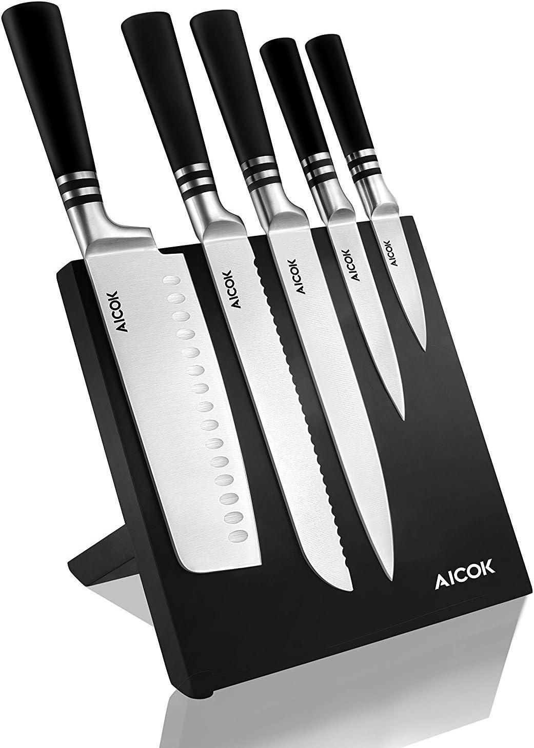 Aicok cuchillos, set de cuchillos de carbono inoxidable alemán. Incluye 5 cuchillos diferentes y un soporte magnético para ellos: Amazon.es: Bricolaje y herramientas