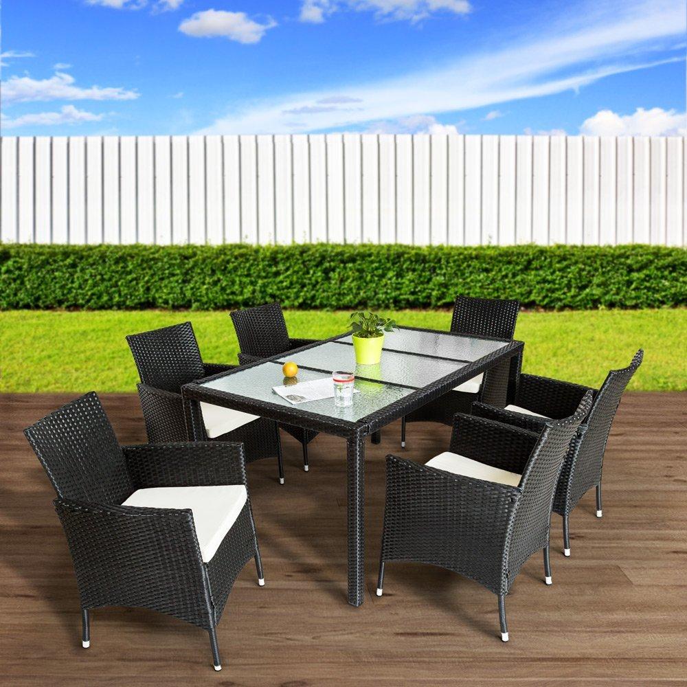 TecTake Poly Ratán sintético Conjunto de Muebles de jardín Comedor Juego Mesa Silla 6+1 - disponible en diferentes colores - (Negro | No. 401177)