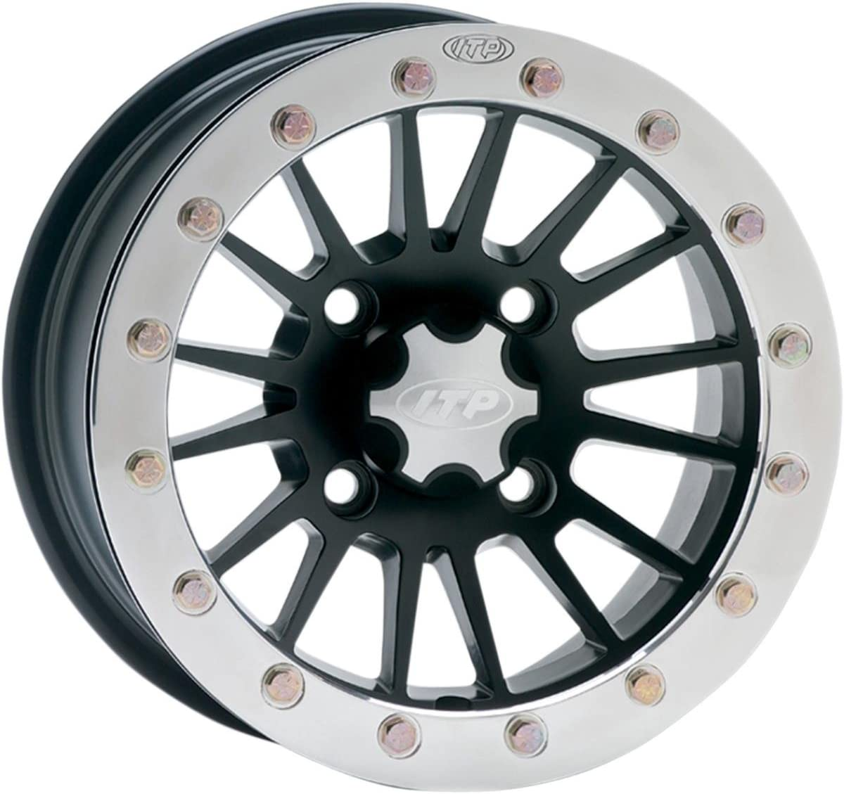 5+2 ITP SD Dual Beadlock Machined//Black ATV Wheel Front//Rear 14x7 4//156