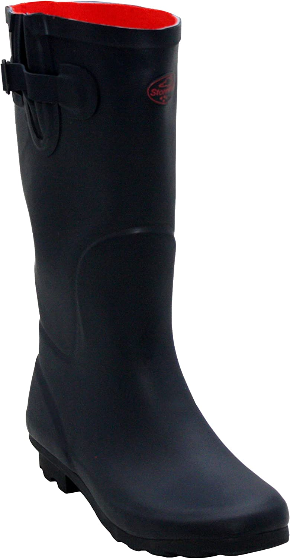A&H Footwear Ladies Womens New Adjustable Calf Waterproof Rubber Festival Rain Mud Snow Girls Wellington Boots Wellies - Sizes UK 3-8 Navy
