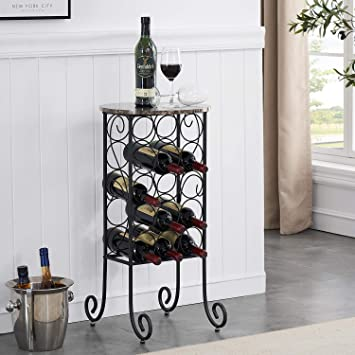 Vecelo Metal Wine Rack Console Table Freestanding Floor Bottles Organizer Display Shelf With Faux Marble Finish Top For Bar Kitchen Dining Living Room Small Spaces Holds 15 Black Home