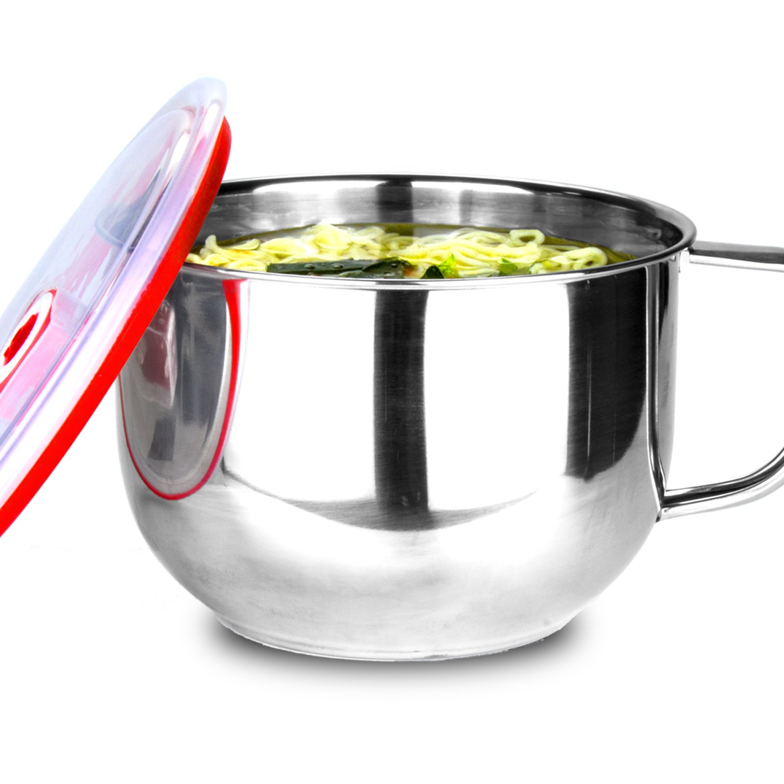 SimLife Stainless Steel Ramen Noodle Soup Pasta Bowl and Induction Cooker directly with Handle&Lid