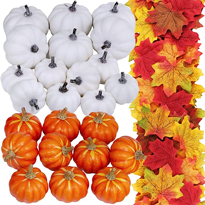 24 Pcs Bulk Assorted Artificial Orange White Pumpkins 250 Pcs Fall Artificial Maple Leaves Fall Wedding Party Table Fireplace Decor Wreath Craft Harvest Halloween Pumpkins Thanksgiving Centerpieces