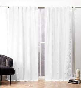 Nicole Miller Textured Matelassé Curtain Panel, 50x84, White, 2 Panels