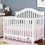 "TILLYOU Crib Bed Skirt Dust Ruffle, 100% Natural Cotton, Nursery Crib Bedding Skirt for Baby Boys Or Girls, 14"" Drop Light Pink"