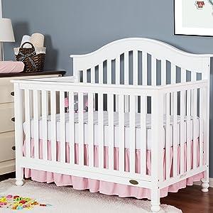 "TILLYOU Crib Bed Skirt Dust Ruffle, 100% Natural Cotton, Nursery Crib Toddler Bedding Skirt for Baby Boys or Girls, 14"" Drop Light Pink"