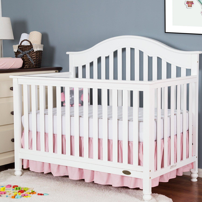 TILLYOU Crib Bed Skirt Dust Ruffle, 100% Natural Cotton, Nursery Crib Bedding Skirt for Baby Boys Or Girls, 14'' Drop Light Pink