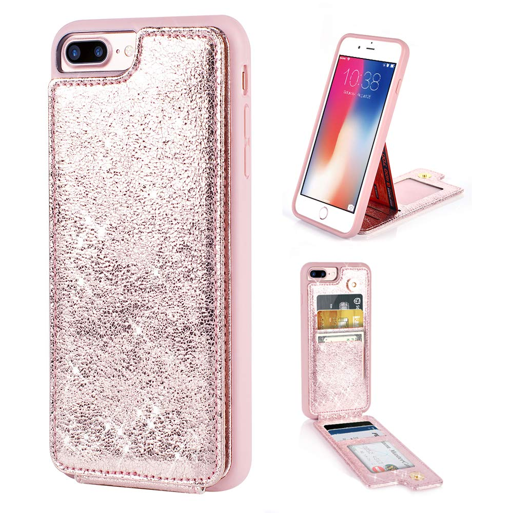 ZVE iPhone 8 Plus Wallet Case, Case for iPhone 7 Plus with Wallet Case with Credit Card Holder Slot Slim Leather Protective Shockproof Case for Apple iPhone 7 Plus and 8 Plus,5.5 inch - Rose Gold by ZVE