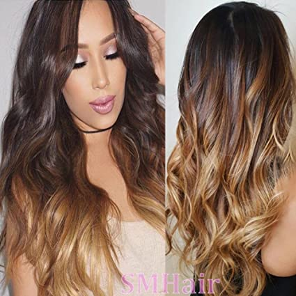smhair Cabello humano pelucas para las mujeres negras sin pegamento Lace Front Peluca Cuerpo Ondulado #