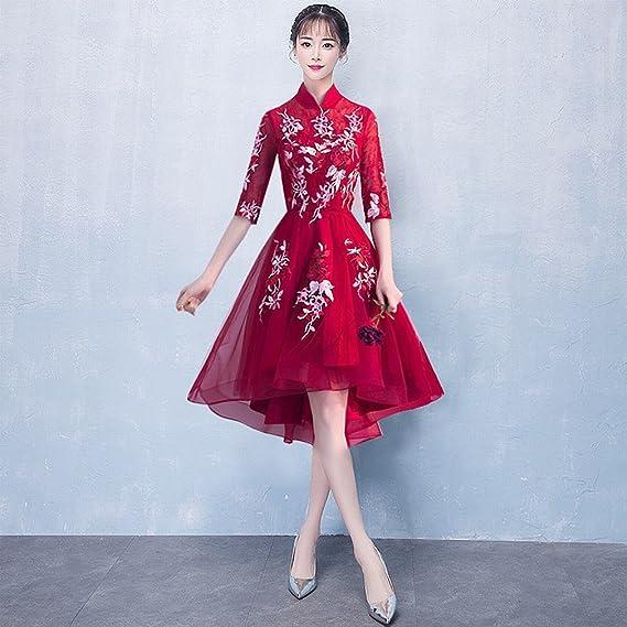 8f043a930d WCZ Vestido de Noche de Banquete Elegante Cheongsam Corto Corto Vestido de  Vestir Vestido Largo Vestido de Dama de Honor Chino  Amazon.es  Deportes y  aire ...
