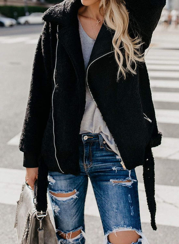 Diukia Womens Fashion Oversized Coat Long Sleeve Lapel Zip Jacket with Pockets Warm Winter