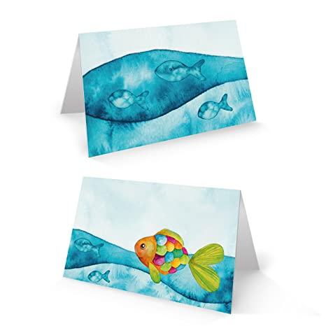 itenga 24 x Tischkarten Platzkarten Namensschild Fisch Kommunion Taufe Konfirmation blau