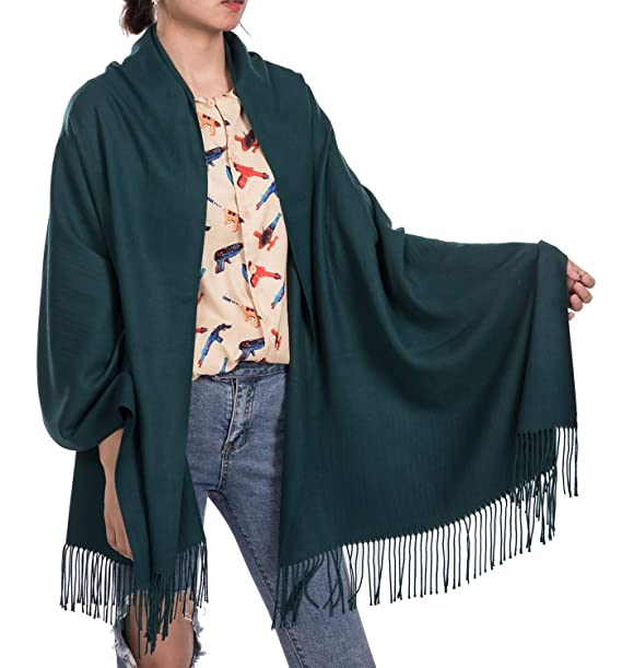 b0e801c9220b9 Womens Soft Scarf Blanket Large Pashmina Cashmere Shawls Wrap Stole with  Tassel (Blackish Green)