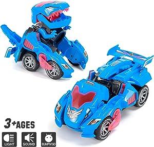 Sunnhan Transforming Toys, 2 in 1 Transforming Dinosaur LED Car Dinosaur Transform Car Toy Automatic Dinosaur Dino Transformer Toy Car Lamps for Kids,Toddlers ( Ages 3-12, Blue)