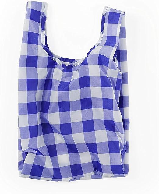 Ripstop Nylon Grocery Tote or Lunch Bag BAGGU Small Reusable Shopping Bag Big Check Blue