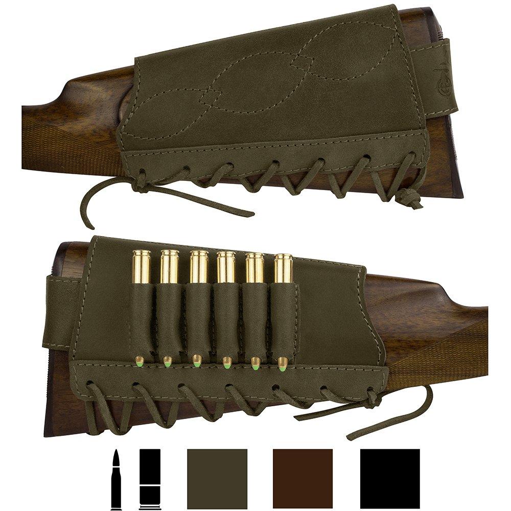 BronzeDog Adjustable Leather Buttstock Cartridge Ammo Holder for Rifles 12 16 Gauge or .30-30 .308 Caliber Hunting Ammo Pouch Bag Stock Right Handed Shotgun Shell Holder (Khaki, 12/16 Gauge) by BronzeDog