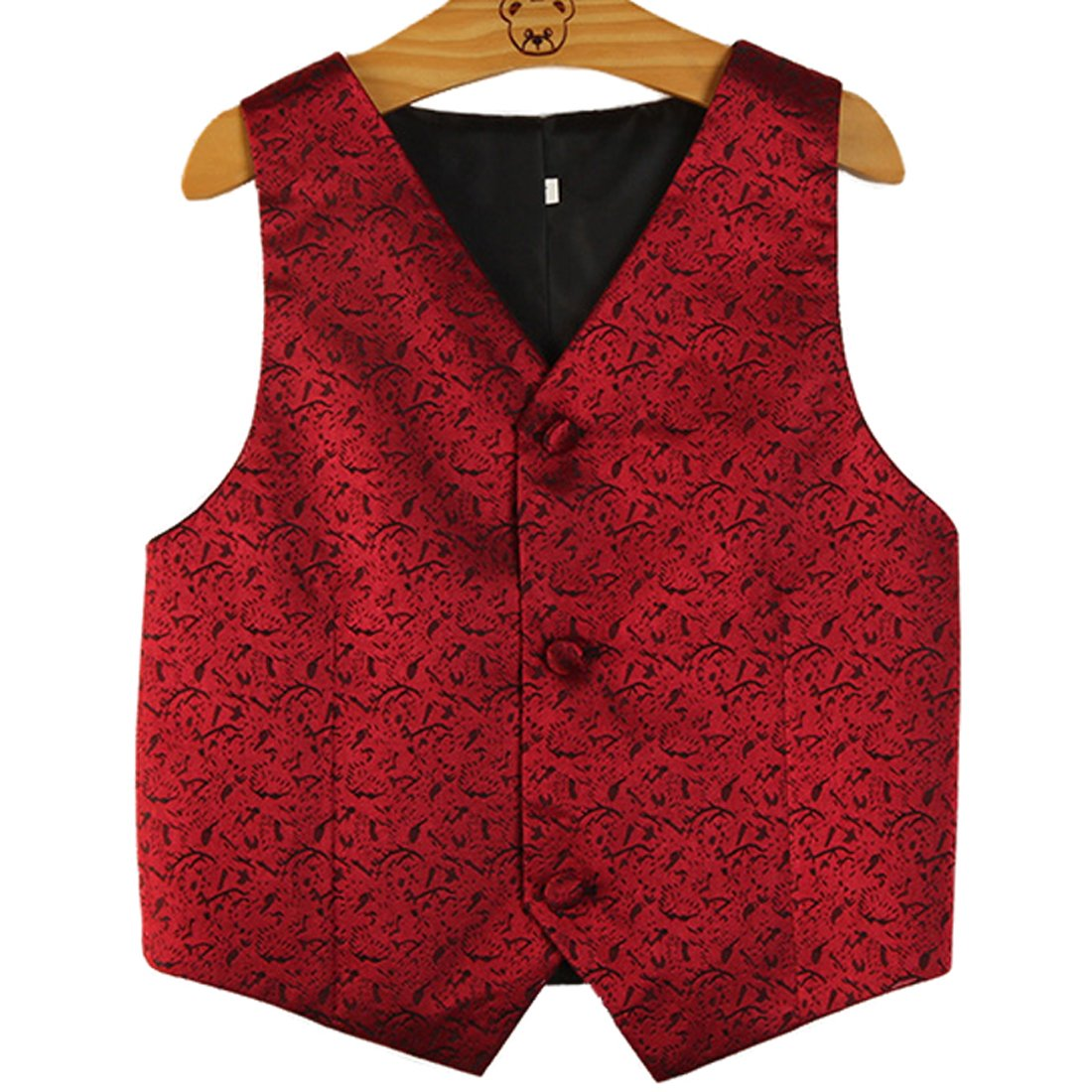 PYJTRL Boys Wedding Waistcoat (Red, Size 8/Height 115-125cm)