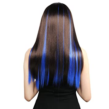 Neitsi 10pcs 18inch Colored Highlight Synthetic Clip On In Hair Extensions F14 Blue