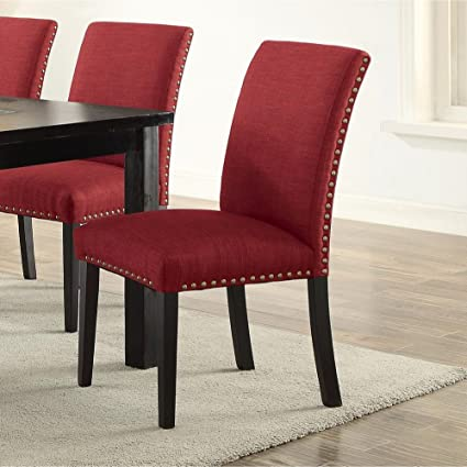 Amazoncom Set Of Two Red Upholstered Dining Chair In Solid Wood