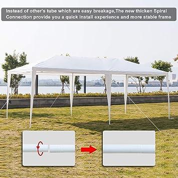 UGSHOP toldo de jardín para exteriores, tienda de campaña de cuatro lados, impermeable, para fiestas, eventos, bodas, tienda de campaña portátil, color blanco, toldo para espectáculos, camping, barbacoa (10 x 20 pies):