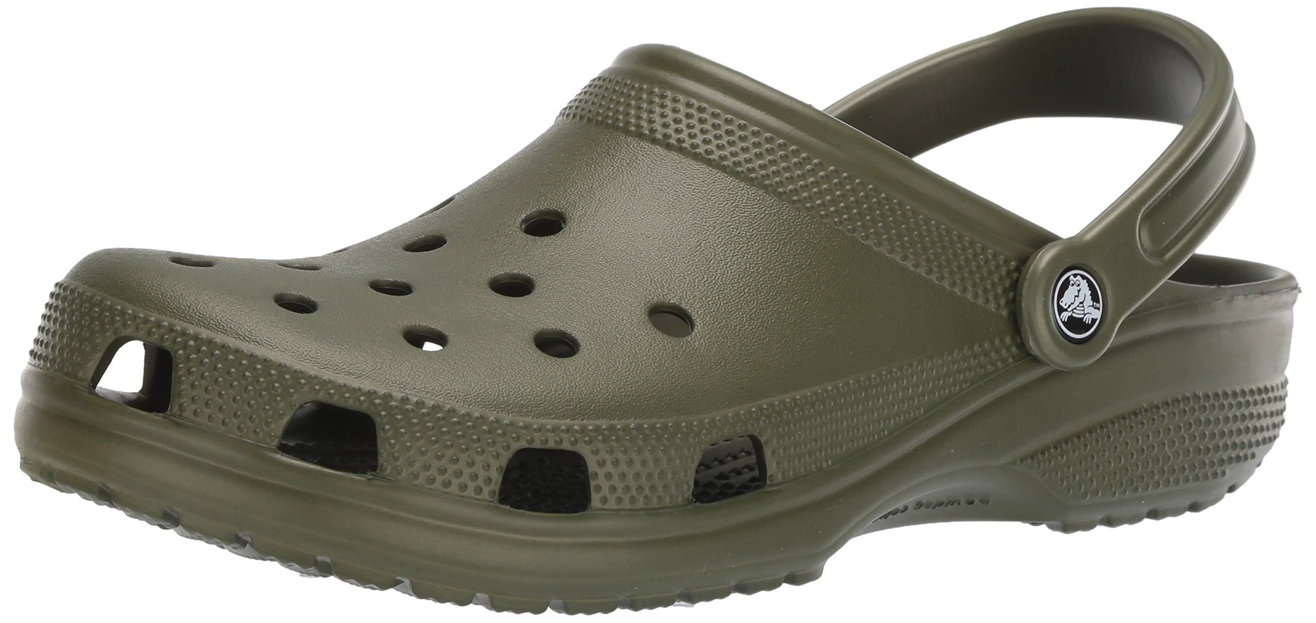 Crocs Men's and Women's Classic Clog, Comfort Slip On Casual Water Shoe, Lightweight, Army Green, 14 US Women / 12 US Men