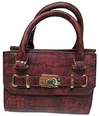 Amazon.com  Bebe Women s Cynthia Mini Crossbody Satchel Oxblood ... bb7c1bfc80f3c