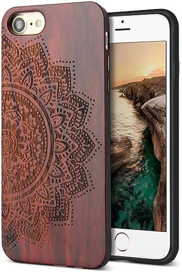 YFWOOD Coque iPhone Se 2020 iPhone 7 iPhone 8 Case Bois et Flexible TPU Silicone Hybrid Slim Housse Etui Compatible avec iPhone Se 2020/7 /8