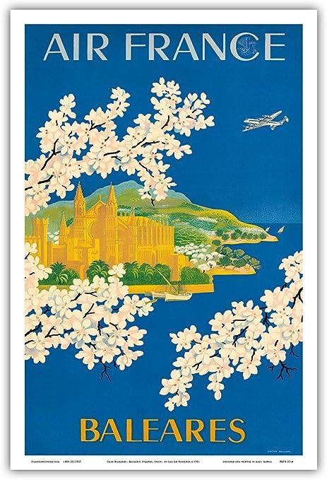 Cartel de metal vintage de Islas Baleares, España - Francia - Catedral de Santa María, Palma, Mallorca - Vintage Airline Travel Poster por Lucien Boucher c.1951-8