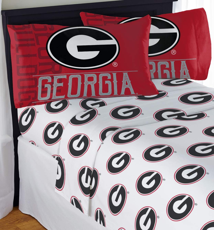 Northwest NCAA Georgia Bulldogs ''Affiliation'' Queen Sheet Set #842799502 by Northwest
