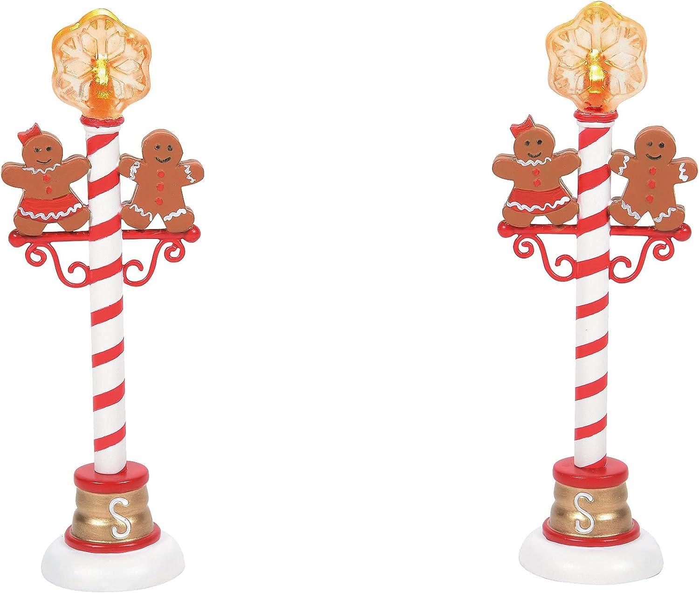 Department 56 Village Accessories Gingerbread Street Lamps Lit Figurine Set, 4.85 Inch, Multicolor