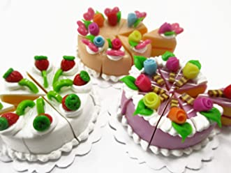 Dollhouse Miniatures Mixed Fruit Top on Sliced Green Tea Layered Cream Cake