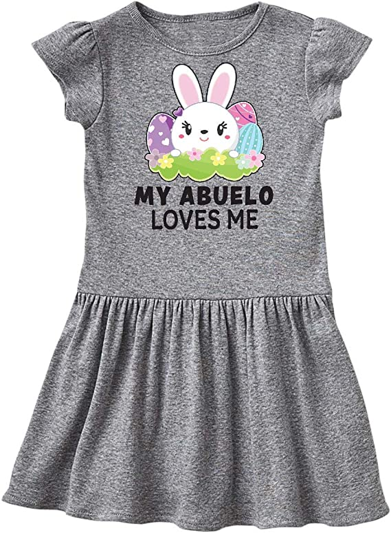 inktastic My Abuelo Loves Me with Bunny and Easter Eggs Toddler T-Shirt