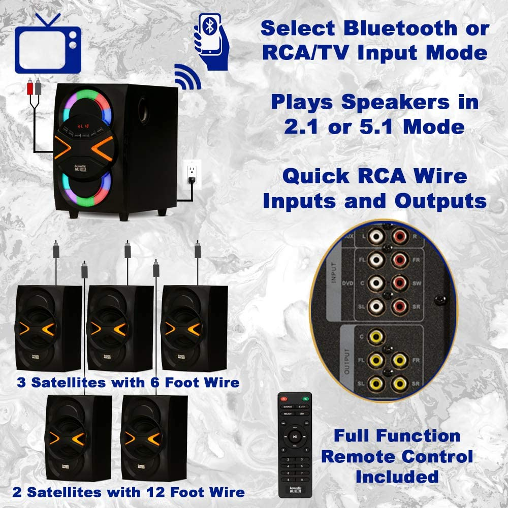 Acoustic Audio AA5210 Home Theater 5.1 Speaker System with Bluetooth FM and 5 Extension Cables LED Lights