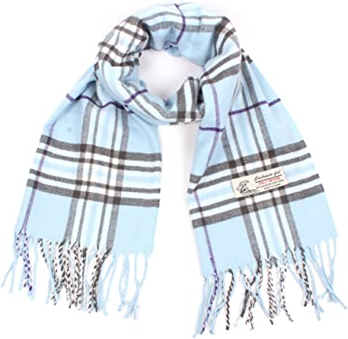 Big Checkered Pattern Cashmere Feel Scarves with Tassels for Men Women