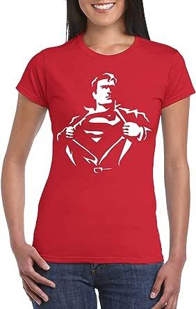 Red Female Gildan Short Sleeve T-Shirt - Superman ripping Shirt design